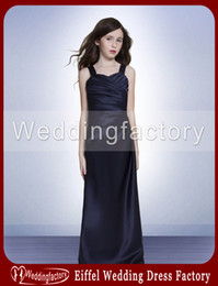 Ligne Sweetheart Floor Length Satin Pas Cher-Flower Girl Long Dress A Line Sweetheart avec bretelles au sol Longueur Robes en satin dans Navy for Girls