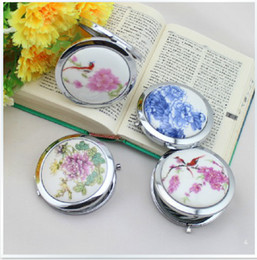 Discount makeup drawings - New Fashion Pocket Mirror Compact china Mirror Makeup Colored Drawing DIY Portable Metal Cosmetic Ceramic Fold Mirror be