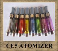 ce5 e cig tanques venda por atacado-CE5 Atomizador eGo Clearomizer 1.6 ml sem pavio CE5 vapor tanque Cigarro Eletrônico para e-cig bateria 8 cores 4 pavio CE5 DHL grátis