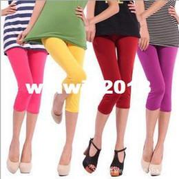 Wholesale Leggings Neon - Multicolour neon leggings capris candy color elastic size pants Cropped Trousers leggings W3001