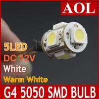 Wholesale Replace Car Light Bulb - G4 5050 SMD 5 LED lights bulb DC 12V warm white and white lamp replace Halogen light for Home Car Landscape Chandelier 20pcs lot