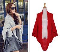 Wholesale Black Red Bats Sweater - New Fashion Autumn Women's Sweaters Bat-wing Sleeve Cardigan Cape Knitted Shawl Pashmina Style Knitwear Outwear Sweater