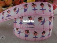 """Wholesale Dance Grosgrain Ribbon Printed - Wholesale - 2013 new arrival 7 8"""" (22mm) dancing girl printed grosgrain ribbon cartoon ribbon hairbows 10 yards"""