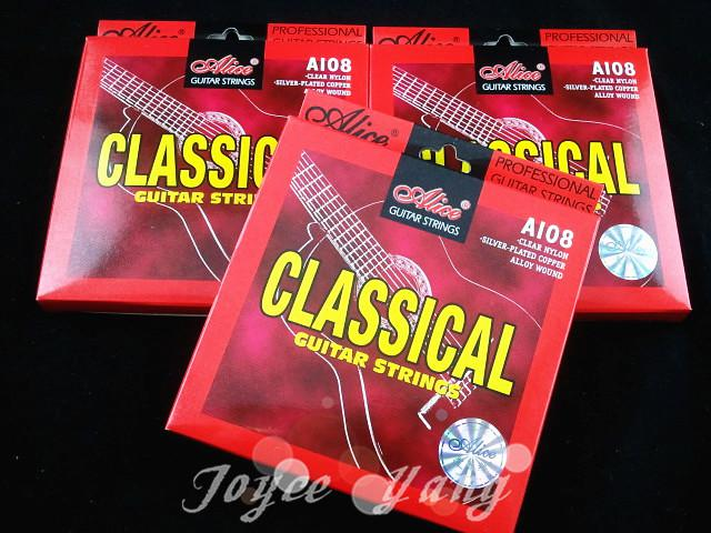 Lotes de Alice A108-N Clear Cordas Guitarra Clássica Nylon Cordas 1º a 6 de Cordas grosso frete grátis