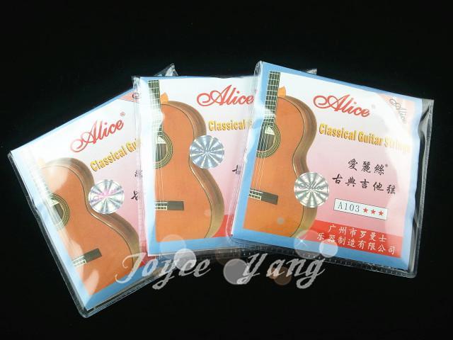 3 uppsättningar av Alice A103-H Clear Nylon Strings Klassiska gitarrsträngar Grossistn Gratis frakt