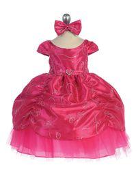 Wholesale Embroidered Organza Taffeta - Taffeta Embroidered Cinderella Pageant Dress Jewel Ball Gown Short Sleeves Flower Girls' Dresses Bow Crystals Sash Ruffle Taffeta Organza