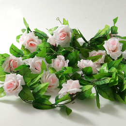 Wholesale Wall Decals Green Vines - S5Q Artificial Rose Silk Flower Green Leaf Vine Garland Wall Party Decor For your Weddings party AAACDO