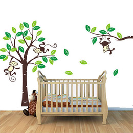 Wholesale Personalised Decals - S5Q Custom Personalised Name Monkey Tree Wall Art Stickers Kids Nursery Vinyl Decals AAACDP