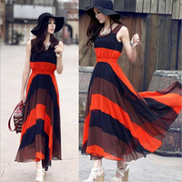 Wholesale Color Block Skirts - S5Q Summer Women's Color Block Bohemian Pleated Stripes Beach Long Maxi Dress Skirt AAABNE