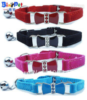 Wholesale small bells free shipping for sale - Group buy Bling Bow Enamel crystal Cat Collar with Safety Elastic Belt amp Bell Color