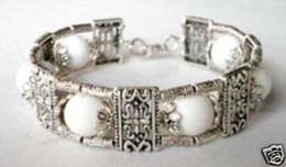 Wholesale Mix Jade Bead Bracelets - 10PCSShipping Tibet style Handmade jewelry Tibet Silver&White Jade Bead Brace