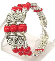 Wholesale Tibetan Jade Earrings - 10 PCS 3S NEW IN TIBET STYLE TIBETAN SILVER RED CORAL BEADS BRACELET