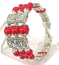 Wholesale Red Tibetan Earrings - 10 PCS 3S NEW IN TIBET STYLE TIBETAN SILVER RED CORAL BEADS BRACELET