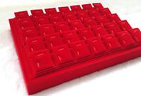 magnetische schmuckschatullen großhandel-Hohe Qualität Marke Red Velvet Schmuck Display Tray Stand Anhänger Ohrring Stud Halter 24 Stücke Magnetverschluss Schmuckschatulle Kostenloser Versand