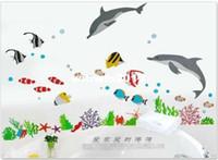 papel de parede do quarto do bebê venda por atacado-Venda por atacado - golfinhos e peixes adesivos de parede bonito dos desenhos animados Nursery Daycare Baby Room fundo Decoração Cool Wall Paper