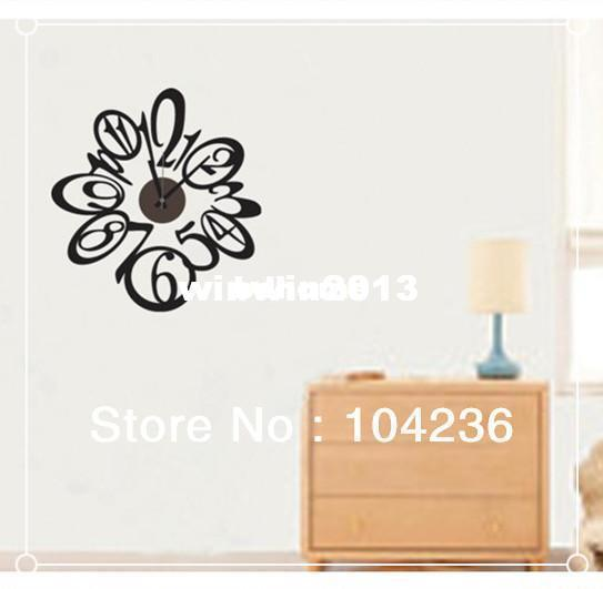 Commercio all'ingrosso - Trasporto libero 2013 Nuovo ZY808 The Black Numbers Orologio Wall Sticker Decor Clock / ZooYoo Smontabile Della Parete Decalcomanie Fabbricazione