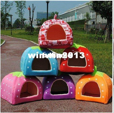 best selling Wholesale - New Cute Lovely Soft Super Cool Sponge Strawberry Pet Dog Cat House Bed 1Pcs free shipping