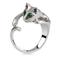 2014 Hot Sale Adjustable Cat Ring Animal Fashion Ring With R...
