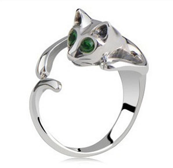 top popular 2014 Hot Sale Adjustable Cat Ring Animal Fashion Ring With Rhinestone Eyes djustable and Resizeable 2020