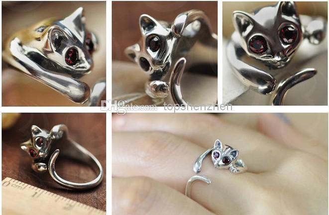 Anneau réglable de mode animal d'anneau de chat avec des yeux de fausse pierre djustable et redimensionnable