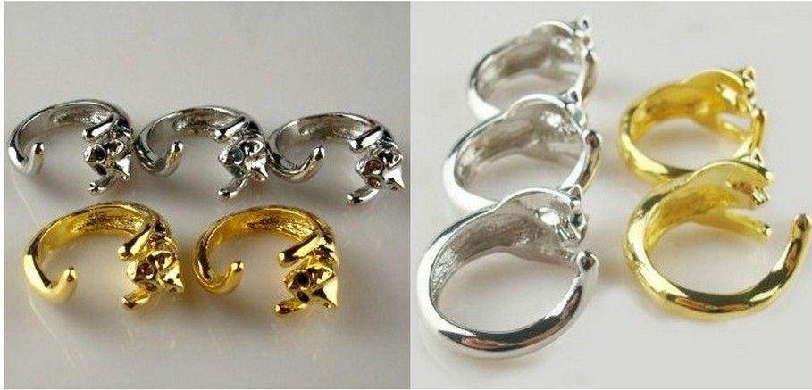 2014 Hot Sale Justerbar Cat Ring Animal Fashion Ring med Rhinestone Eyes Rettble och Resizeable
