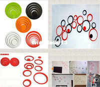 круг стерео оптовых-Wholesale - Hot Sale Circles Ring Creative Stereo Wall Stickers Mural Indoor 3D Wall Art Decoration DIY Room Stickers 5 Colors Free shipping
