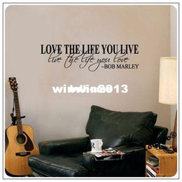 love stickers Promo Codes - Wholesale - Bob Marley Quote Wall Decal Decor Love Life Words Large Nice Sticker Text  Waterpoof Wall Sticker 8098