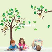 vinyl-gehäuse aufkleber großhandel-Großhandel - Große süße Affen Haus Baum Wand Kunst Aufkleber Kinder Kinderzimmer Vinyl Decals Decor