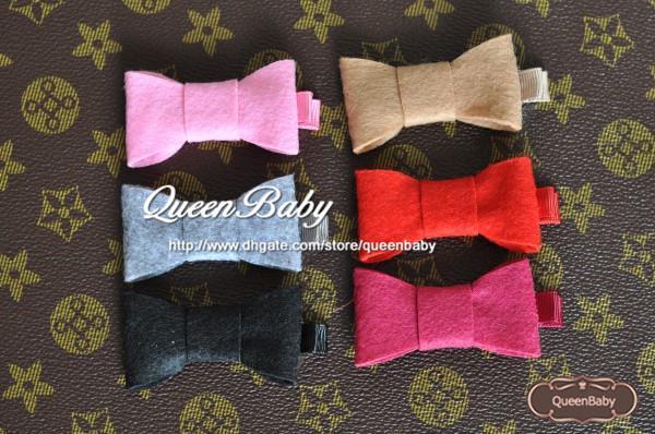 Baby Felt Bows Hair Clip,Handmade felt bow hair bows hair clips for kids 60pcs/lot Queenbaby