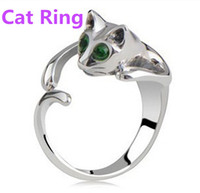 Anillo de moda animal ajustable del anillo del gato con los ojos del diamante artificial djustable y resizeable