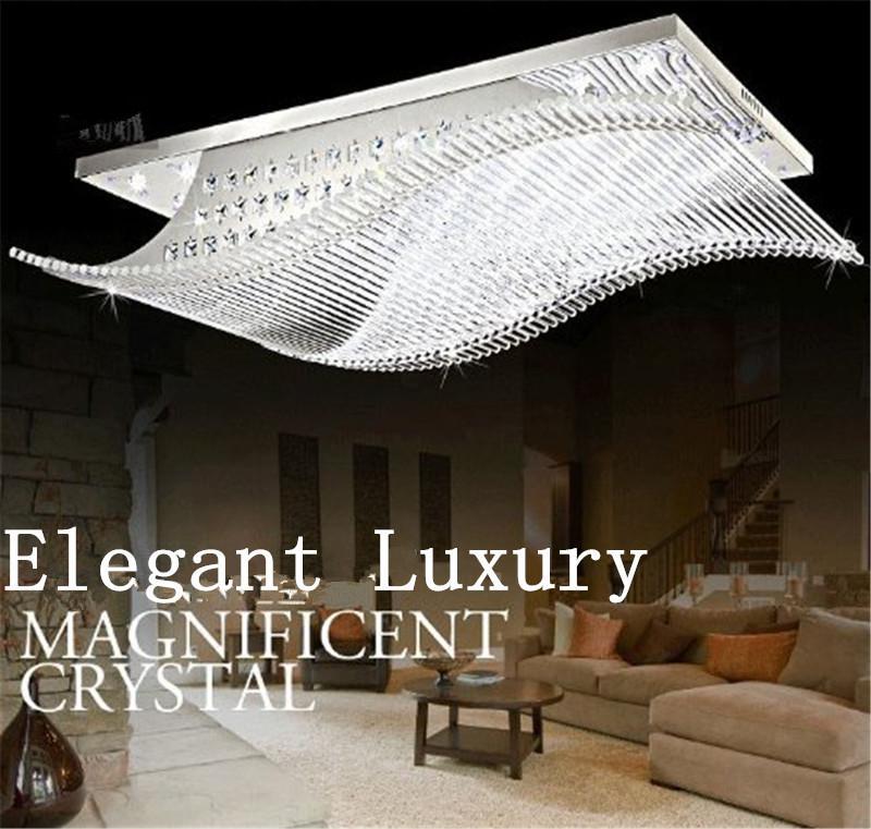 Lâmpadas de Teto de LED Moderno Minimalista K9 LED Rectangular Lâmpada Do Teto Sala de estar Lustre Regulável