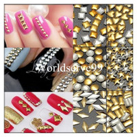 Wholesale 1000PS D Nail Art Tips Metallic Heart Star Circles Squares Rhinestones Gem Stud Decorations Gold Silver