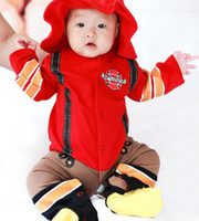 Wholesale Doomagic Set - Wholesale-NEW baby outfits doomagic Firemen Astronauts cotton long-sleeved leotard climbing clothes 1 set lot-DZY426H
