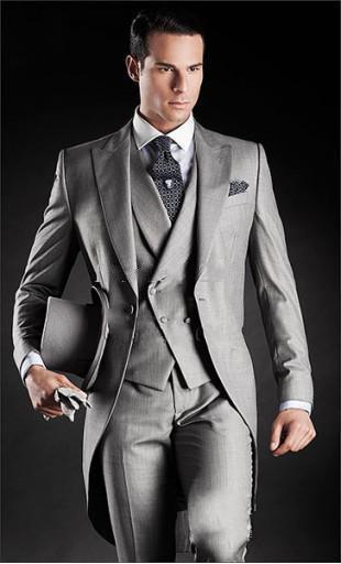 Morning Style Light Grey Groom Tuxedos One Button Peak Lapel Best man Groomsman Men Wedding Suits Bridegroom Jacket+Pants+Tie+Vest J161