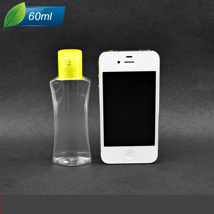 Дешевые 60 мл ПЭТ бутылки пластик с желтым флип-топ крышка лосьон бутылки косметическая упаковка бутылки 10 шт. / лот ZH1209