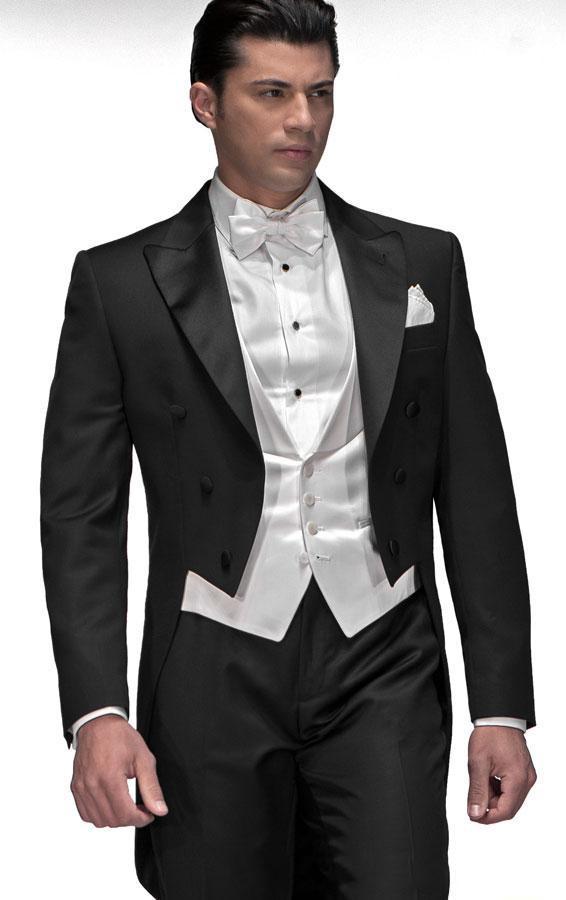 2015 tailcoat svart dubbel-breasted brudgum tuxedos topp lapel bästa man groomsman män bröllop kostymer brudgum jacka + byxor + slips + väst J163