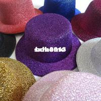 Wholesale Hen Party Felt Hat - Wholesale - 13cm 12pcs lot Free Shipping Hen Party Felt Glitter Mini Top Hat Fascinator Base for DIY