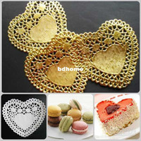 Wholesale Paper Doilies Heart - Wholesale - Free Shipping, Create and Craft 10cm=4'' Heart Gold Paper Lace Doilies Placemat Wedding Decoration-2