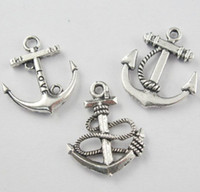 Wholesale Silver Anchor Charm Necklace - Anchors Charms Pendants For Jewelry 100pcs lot 3styles Tibetan Silver Craft DIY Fit Earring Bracelets Necklace