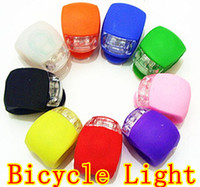 Wholesale Silicone Bike Cycling Rubber Light - GEL Silicone Bike Lights 2LED Cycling Bike Bicycle Light Rubber Tail Light Front Rear Flash Warning Light Lamp Headlamp Silicone light