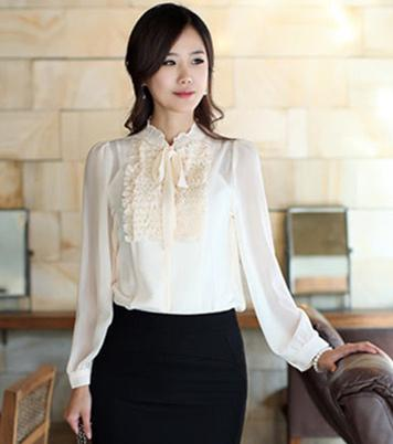 7117915d020 M-4XL Women Plus Size Stand Ruffle Collar Long Sleeve Office Chiffon Shirts  Brand Spring Autumn Elegant OL Swag Shirt Drop Shipping 6786 Online with ...