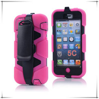 Wholesale Wholesale Iphone5c Cases Dhl Free - Shock Proof Hybrid Heavy Duty Armor Case For iphone 5C iphone5c Stand Silicone Plastic Hard Case with Belt Clip Free DHL