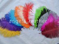 plumas de avestruz amarillas al por mayor-100pcs / lot al por mayor, 10-12 pulgadas de largo, plumas de avestruz, blanco, negro, amarillo, azul real, turquesa, rosa, rojo, naranja, gris, púrpura, marrón