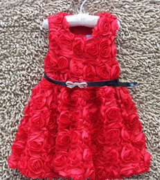 Wholesale Rose Belt Dress Girl - Wholesale - Girl red rose dress black belt A skirt 6p l free shipping