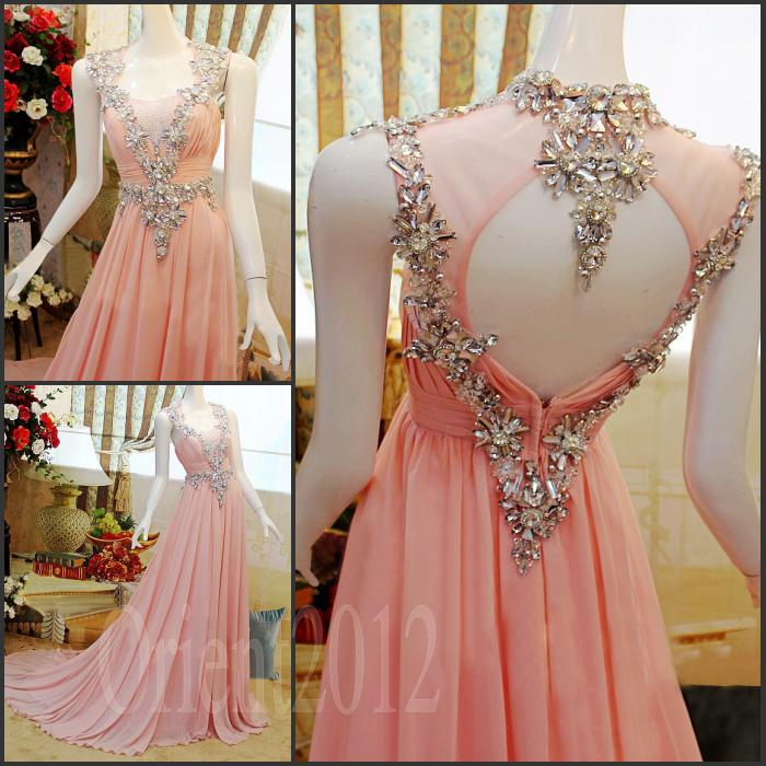 Charming Amazing Swarovski Crystals Prom Dress Pink Floor Length ...