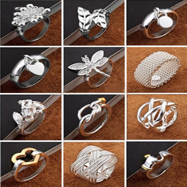 top popular Best valentine's gift 925 silver jewelry 50pcs lot Charming Women girls finge rings Multi Styles Rings Mix size & mix order Hot 2019