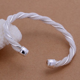 Wholesale Sterling Silver Twisted Wire Bracelet - Wholesale - Hot 925 sterling silver charm bracelet twisted wire mesh fashion silver jewelry 925 silver