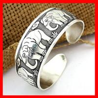 Wholesale Invisible Elephant - Tibet Vintage Style Bracelet Silver Plated Elephant Pattern Luck Bangle Open hard body Bracelet Good Gifts 1220