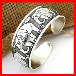 Wholesale Vintage Bracelet Bangle - Tibet Vintage Style Bracelet Silver Plated Elephant Pattern Luck Bangle Open hard body Bracelet Good Gifts 1220