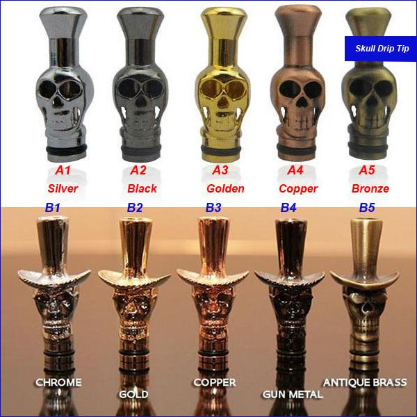 Various Skull Drip Tips Human Skeleton Cap Drip Tip Metal Mouthpieces For  CE4 CE5 510 Thread Atomizer Clearomizer Ego Electronic Cigarette Drip Tip